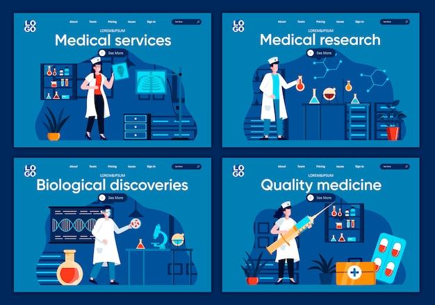 Set di pagine di destinazione piane per servizi medici. diagnosi e terapia nelle moderne cliniche per sito web o pagina web cms. ricerca medica, scoperte biologiche, illustrazione di medicina di qualità.