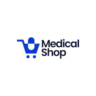 Illustrazione dell'icona di vettore del logo della capsula del carrello del negozio del negozio medico