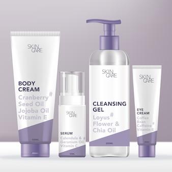 Cura della pelle medica o set di bellezza con tubo, bottiglia della pompa, dispenser e confezione del tubo. design minimalista.