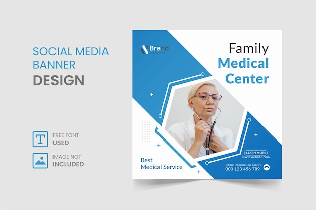 Post di instagram di social media medici e design di banner
