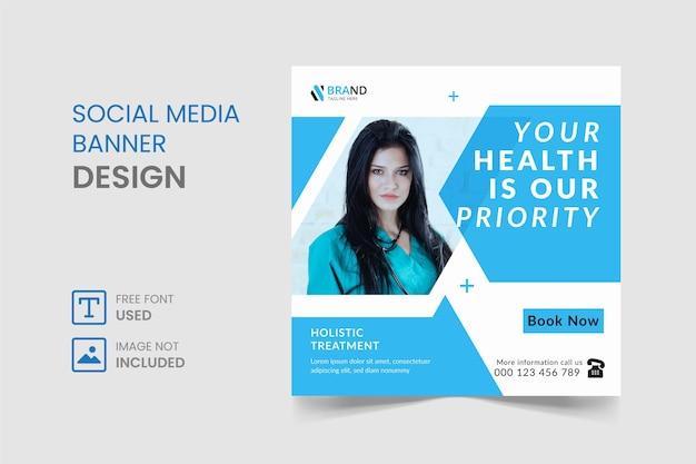Post di instagram di social media medici o design di banner