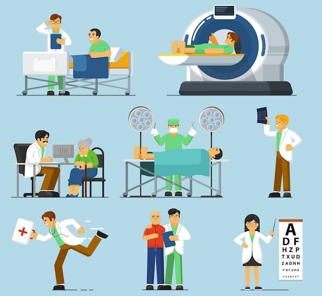 Set di specialisti medici. terapista isolato, paziente esaminante medico, professione di chirurgo, medico di emergenza, specialista oncologo, risonanza magnetica, raggi x in ospedale medico. medicina e assistenza sanitaria
