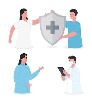 Gruppo di personale medico di quattro lavoratori con scudo del sistema immunitario e illustrazione della lista di controllo
