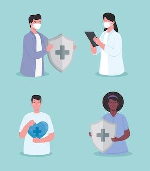 Gruppo di personale medico di quattro lavoratori con scudo del sistema immunitario e illustrazione cardio cuore