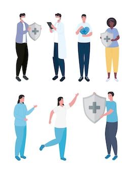 Gruppo di personale medico di sette lavoratori con illustrazione dello scudo del sistema immunitario