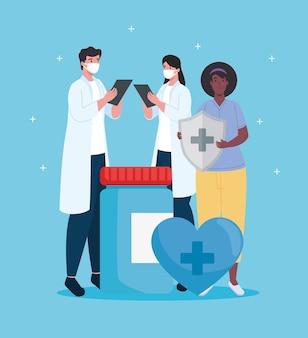 Gruppo di personale medico di tre lavoratori con scudo del sistema immunitario e illustrazione di farmaci in bottiglia