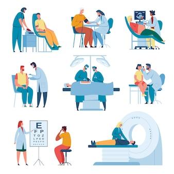 Personale medico e pazienti vaccinazione diagnostica ecografica chirurgia set operatori