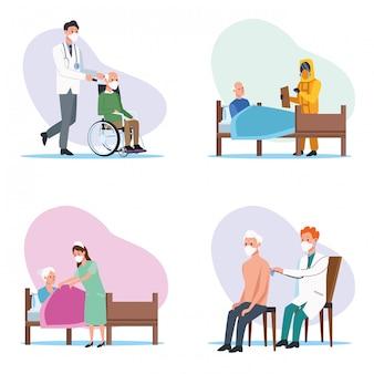 Personale medico che protegge i personaggi anziani