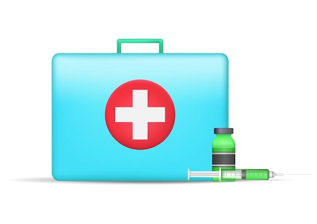 Valigia medica e flacone e siringa del vaccino