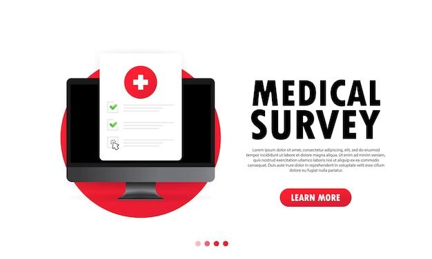 Illustrazione di indagine medica. elenco di controllo dei documenti medici sanitari online sul computer. elenco di controllo dei risultati dei test. assicurazione sulla vita o concetto di assistenza sanitaria. vettore su sfondo bianco isolato. env 10.