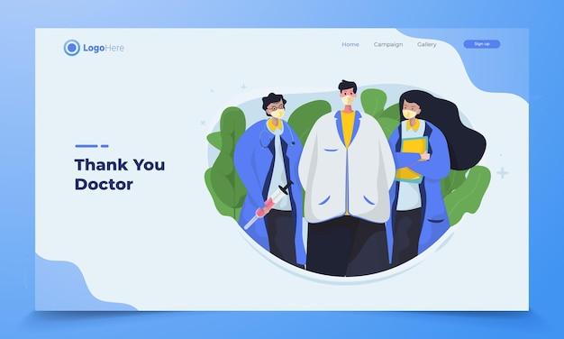 Profilo del team medico per la campagna banner sulla salute per ringraziare i medici