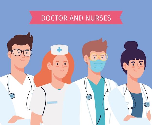 Progettazione dell'illustrazione del gruppo di medici e del personale, di medici e degli infermieri