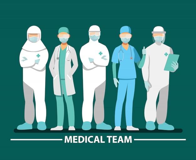 Equipe medica e personale, personaggio dei cartoni animati di illustrazione