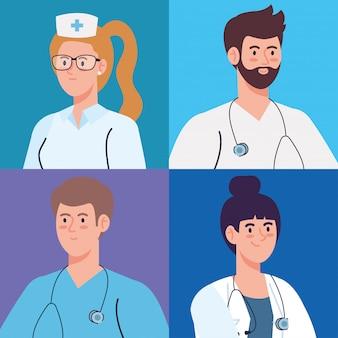 Progettazione dell'illustrazione del gruppo di medici e del personale, dell'infermiere e di medici