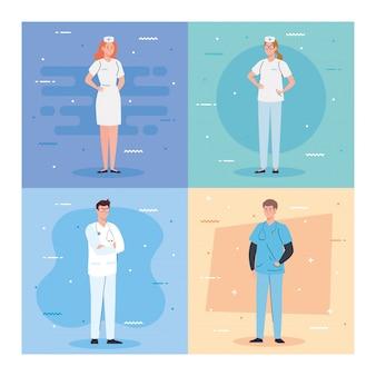 Progettazione dell'illustrazione degli uomini del gruppo di medici e del personale, degli infermieri e di medico
