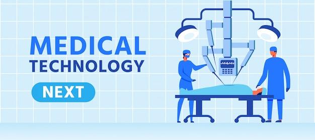 Banner di tecnologia medica con robot chirurgico Vettore Premium