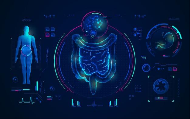 Concetto di tecnologia medica, scansione dell'intestino e dello stomaco