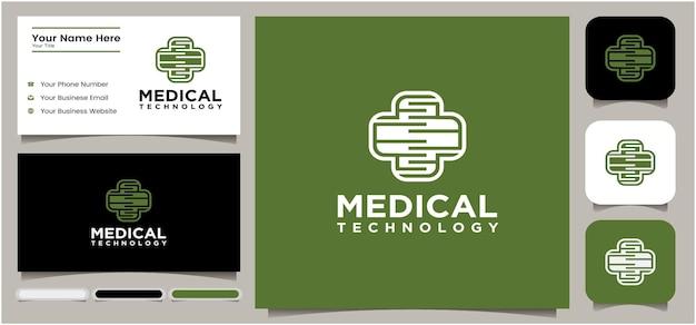 Tecnologia medica logo tecnologia croce icona logo modello di progettazione simbolo croce creativo per medico