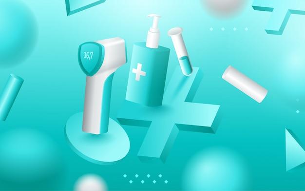 Strumenti medici, terapia medica e articoli per il trattamento. illustrazione