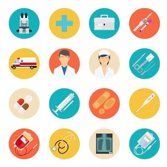 Strumenti medici e icone di assistenza sanitaria