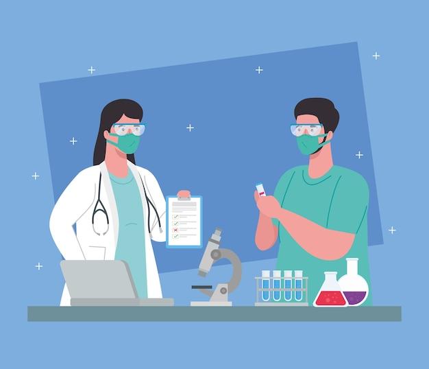 Ricerca sui vaccini medici coronavirus, coppia di medici nella ricerca sui vaccini medici e microbiologia educativa per il coronavirus covid19 illustrazione