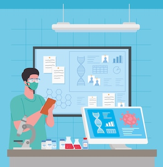 Ricerca sui vaccini medici coronavirus, medico in laboratorio per la ricerca sui vaccini medici e microbiologia educativa per l'illustrazione covid19 del coronavirus