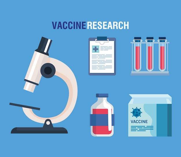 Ricerca sul vaccino medico coronavirus e microscopio con icone di laboratorio, ricerca medica sui vaccini e microbiologia educativa per l'illustrazione covid19 del coronavirus