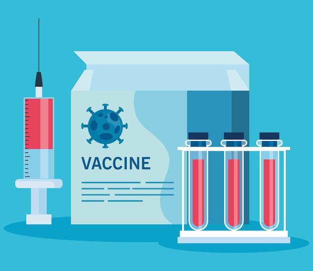 Ricerca sul vaccino medico coronavirus, con test di scatola, siringa e provette, ricerca sui vaccini medici e microbiologia educativa per l'illustrazione covid19 del coronavirus