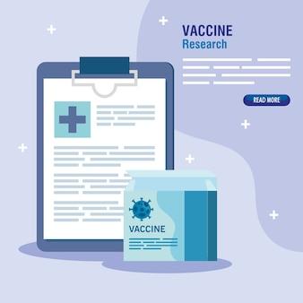 Ricerca sul vaccino medico coronavirus, con scatola di vaccino e lista di controllo, ricerca medica sui vaccini e microbiologia educativa per l'illustrazione covid19 del coronavirus