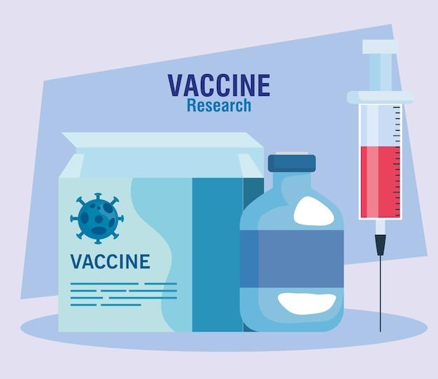 Ricerca sui vaccini medici coronavirus, con scatola, fiala e siringa, ricerca sui vaccini medici e microbiologia educativa per l'illustrazione covid19 del coronavirus