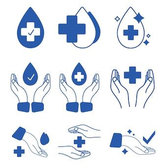 Etichette approvate dal punto di vista medico timbro per insegne clinicamente testato icone antibatteriche