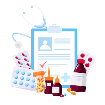Farmaco e concetto di trattamento sanitario. raccolta di farmaci da farmacia in bottiglia e scatola. pillola medica e modulo di prescrizione. concetto di farmacia e farmacista.