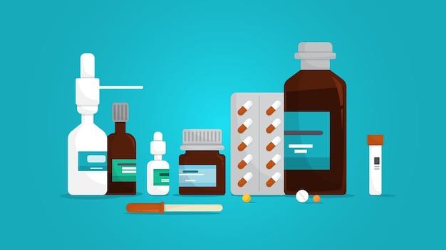 Set di farmaci. raccolta del farmaco della farmacia in bottiglia. pillola medica per il trattamento della malattia. concetto di farmacia. illustrazione