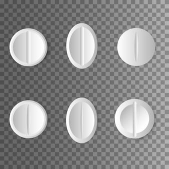 Farmaci. set di pillole e compresse bianche su trasparente