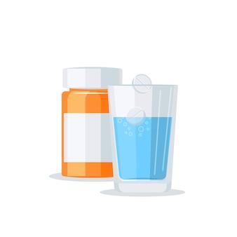 Concetto di vettore di farmaci. bottiglia della pillola e bicchiere d'acqua
