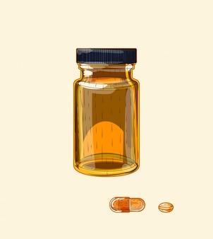 Ampia fiala e pillole di vetro marrone medicinale, arte di schizzo disegnato a mano