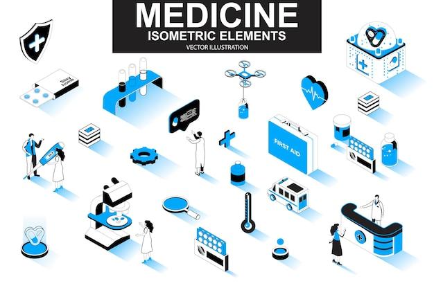 Elementi di linea isometrica 3d di medicina