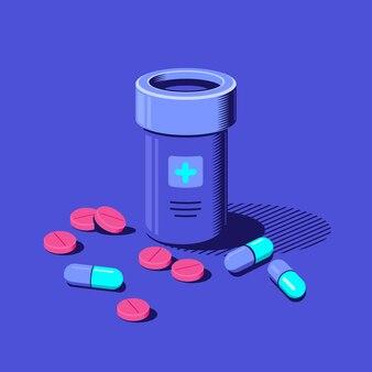 Bottiglia di medicina e pillole su sfondo blu. farmaco, concetto farmaceutico. illustrazione di stile piatto.