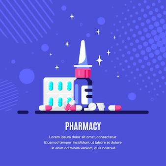 Bottiglia di medicina con gocce nasali e pillole su sfondo blu. farmaco, concetto farmaceutico. illustrazione di stile piatto.