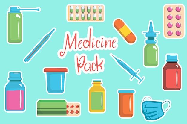Raccolta di bottiglie di medicina. illustrazione di farmaci, compresse, capsule e spray