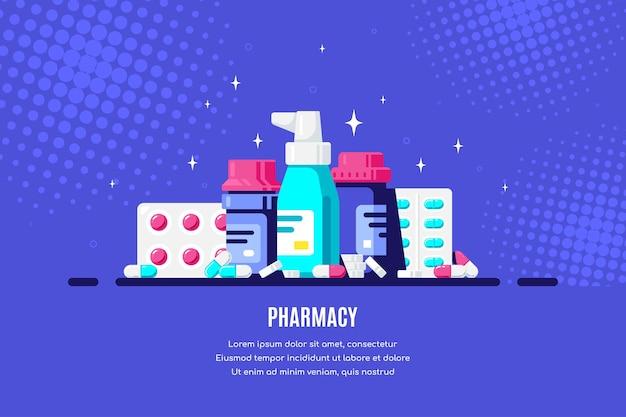 Bottiglie e pillole della medicina su priorità bassa blu. farmaco, concetto farmaceutico. illustrazione di stile piatto.