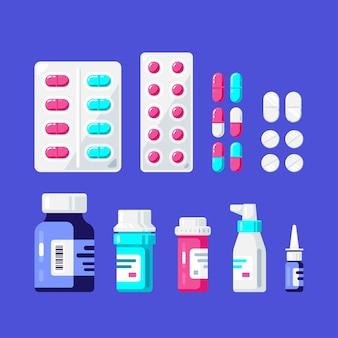 Set di bottiglie, pillole e compresse di medicina. bottiglie di farmaci, compresse, capsule e spray. farmaco, concetto farmaceutico.