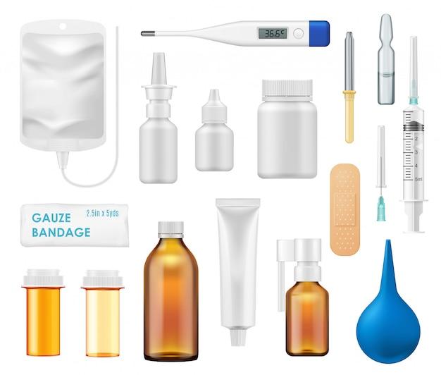 Bottiglie di medicina, spray, fiale di vetro, termometro