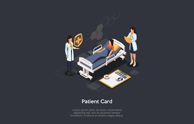 Illustrazione di concetto di registrazione della carta del paziente di identificazione di salute e del centro di medicina