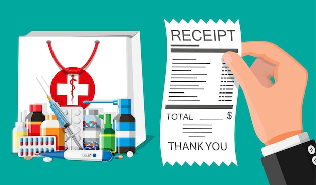 Raccolta medicinali in borsa, a mano con scontrino. set di flaconi, compresse, pillole, capsule e spray. droga medica, vitamina, antibiotico. sanità e farmacia. illustrazione vettoriale piatta