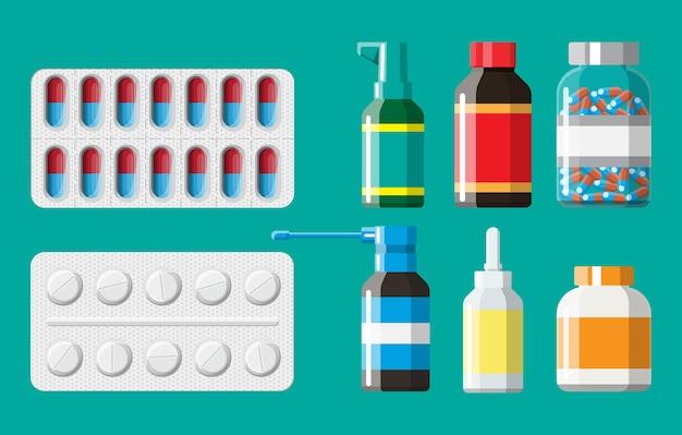 Collezione di medicinali. set di flaconi, compresse, pillole, capsule e spray per il trattamento di malattie e dolori. droga medica, vitamina, antibiotico. sanità e farmacia. illustrazione vettoriale in stile piatto