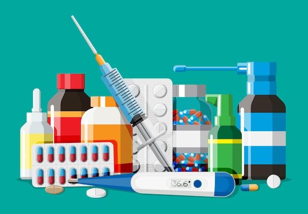 Raccolta di medicinali. set di bottiglie, compresse, pillole, capsule e spray.