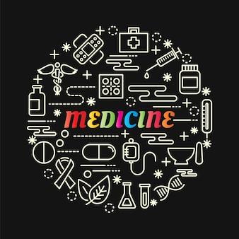 Gradiente colorato medicina con set di icone di linea