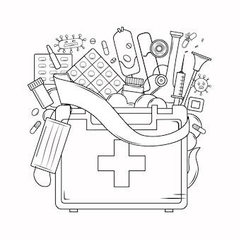 Libro da colorare di medicina per adulti kit di pronto soccorso maschera virus siringa benda in stile contorno