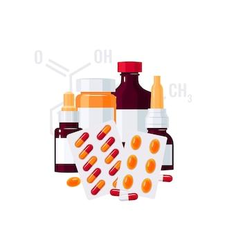 Concetto di medicina. bottiglie con farmaci e pillole in blister in stile piatto